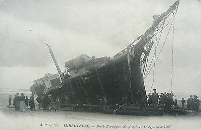 Vintage Postcard.wreck Of The Ambleteuse.september 1903.undivided Bck.real Photo