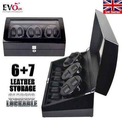 Luxury Black Automatic Dual Motor Watch Winder Display Box 6+7 Leather Storage