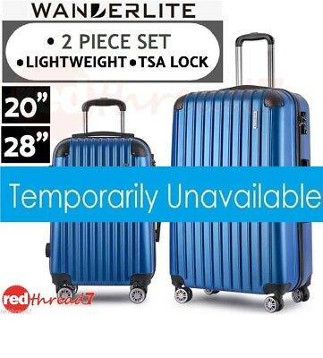Luggage Suitcase 2pc Trolley Set 4 Wheel Set TSA Travel Carry On Hard Case Blue