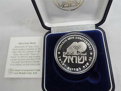 1988 ISRAEL 40th ANNIVERSARY STATE MEDAL 37mm 26g STERLING SILVER +COA + BOX