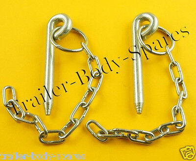 FREE UK Post - 2 x 10mm x 108mm Cotter Pin & Chain - Trailers and Horse Box  AJD