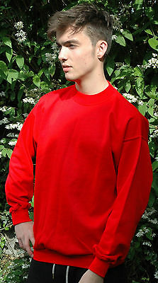 Plain Red Sweatshirt Childrens Boys Girls Sizes  Poly/Cotton Made in The UK