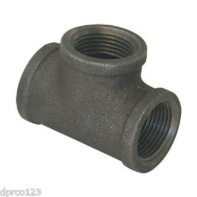 """3/4"""" BLACK MALLEABLE IRON TEE fitting pipe npt - LOT OF 5"""
