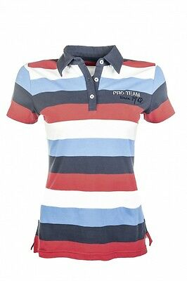 Kinder Poloshirt International Stripe HKM PRO TEAM weiß/navy/rot 140