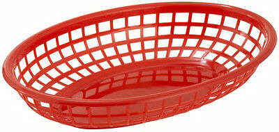 "12 Reusable 9"" x 6"" Classic Plastic Red Oval Food Basket"