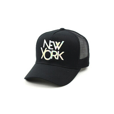 Unisex Mens Womens New York Mesh Baseball Cap Trucker Snapback Hats Black/White