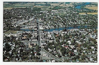 Fort Atkinson WI Wisconsin Aerial View Rock River Shopping Vintage Postcard