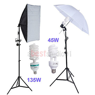 Photography Studio Soft Box Umbrella Continuous Lighting Softbox Light Stand Kit