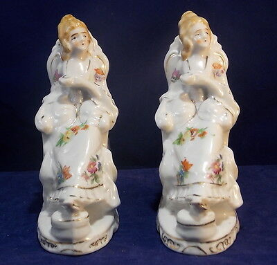 Lot of 2 Hand Painted Porcelain Victorian Woman Figurine Made in Japan