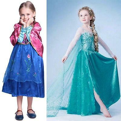 Kids Girls Dresses Disney Frozen Elsa dress costume Princess Anna party Dresses