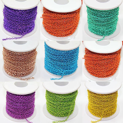 Wholesale 100m Iron Metal Cable Open Link Chain Jewellery Findings Many Colors