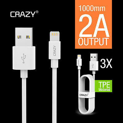 3x CRAZY iPhone 5S 6S plus 7 iPad iPod USB cable lightning data charging cord 1M