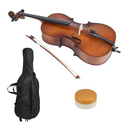 1/2 Wooden Cello Matte Finish Basswood Face Board with Bow Rosin Bag O9L7