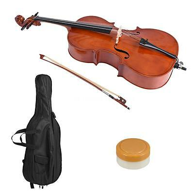 3/4 Wooden Cello Gloss Finish Basswood Face Board with Bow Rosin Bag F4F3