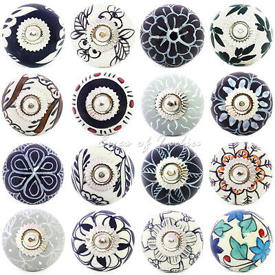 Black White Grey Ceramic Cupboard Dresser Door Cabinet Knobs Pulls Decorative Sh