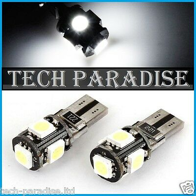 2x Ampoule T10 W5W W3W 5 LED SMD CanBus Anti erreur Blanc White veilleuse 12V