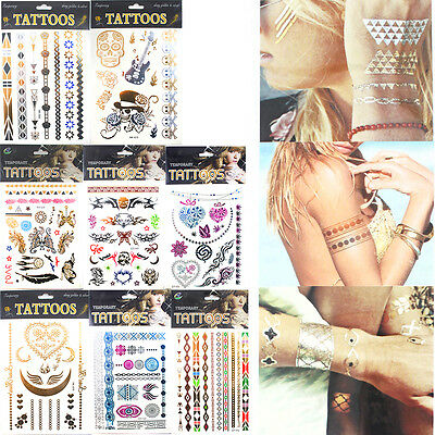 UK 12 Mixed Sheet Temporary Metallic Tattoo Silver Gold Black  Inspired Body Art