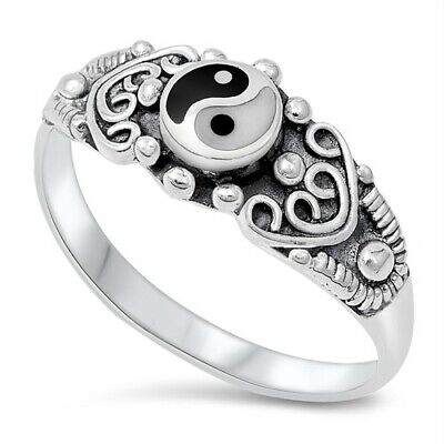 .925 Sterling Silver Yin Yang Stone Spiritual Fashion Ring Size 4-12 NEW