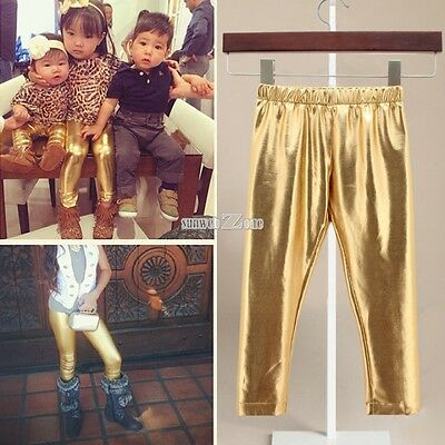 Gold Synthetic Leather Pants Kids Girls Stretch Pencil Warm New Tights Hot S0BZ