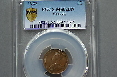 1925 , 1 Cent, Canada,   MS 62 BN,   Graded by PCGS,      A look to appreciate ?