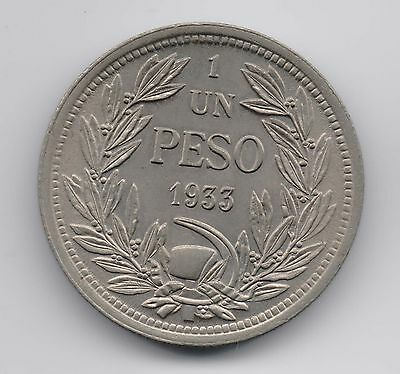 Chile Coin 1 Peso 1933 Uncirculated!!!