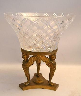 19th Century French Crystal and Bronze Compote