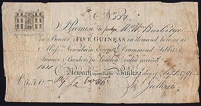 1791 NEWARK UPON TRENT BANK 5 GUINEAS BANKNOTE * SCARCE * VG * Outing 1487