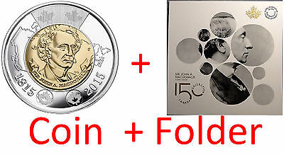 2015 Canada Sir John A. MacDonald Coins Toonie $2 and Collector Card Folder RCM