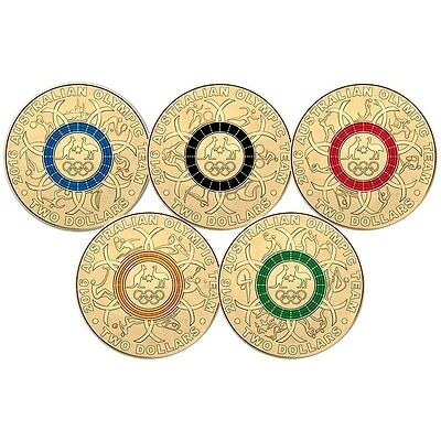 10 x 2016 $2 Australian Olympic Team Colour 5 coin set SOLD OUT AT MINT