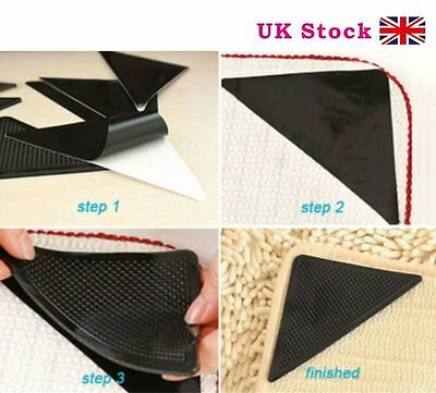 4Pcs Ruggies Rug Carpet Mat Grippers Non Slip Skid Reusable Washable Grips Tool