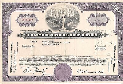 Stock certificate Columbia Pictures Corporation 1960's. New York