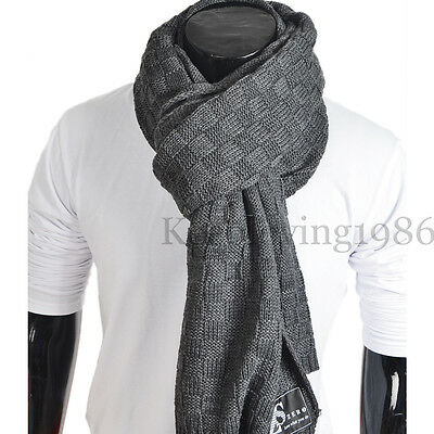 Mens Knit Long Scarf Square Infinity Scarves Warm Winter Muffler E5031