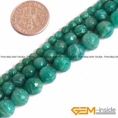 """Natural Green Russian Amazonite Gemstone Faceted Round Loose Spacer Beads 15"""""""