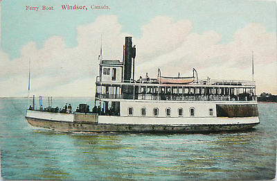 Vintage Postcard.ferry Boat.windsor Canada.early Hand Coloured Card