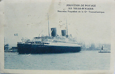Vintage Postcard.ss Ville-D'alger (Also The Poseidon).used At Dunkirk.rp Image