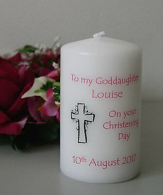Personalised Christening Baptism or Dedication candle Goddaughter, Granddaughter