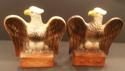 Pair of Eagle Ceramic Banks  Emigrant Industrial Savings Bank NY Fine condition