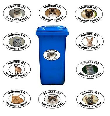 Pair Wheelie Bin Stickers Transfers, Your Address + Picture Of Favourite Cat W10