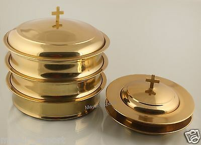 Brasstone - 3 Communion Tray Set with Lid  2 Bread Plate with Lid RELIGIOUS EDH
