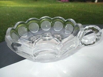 Fostoria Columbia Coin Glass Ring Handle Nappy Bowl Frost Coin Images On Clear