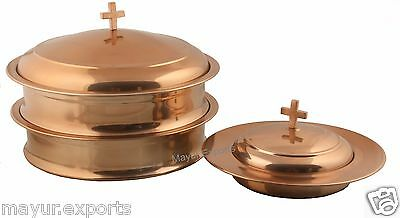 Copper Finish--Holy Communion Tray Set with Lid & Bread Plate with Lid