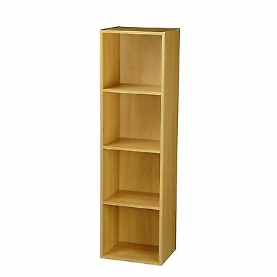 4 Tier Natural Beech Wooden Storage Bookcase Shelving Display Shelf Storage Unit