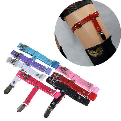 1 Pc Sexy Rivet Leather Garters Elastic Rock Leg Ring For Stocking Sock Colorful