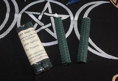 Pair Of Dark Green Handcrafted Beeswax Spell Candles