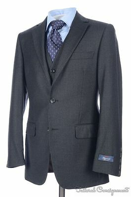 NWT  BROOKS BROTHERS Fitzgerald Gray Check 3 PIECE Wool Jacket Pants SUIT - 36 R