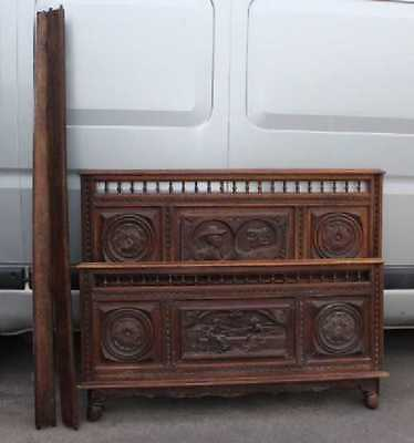 1920's Breton Highly Carved Oak Head,Foot and side rails.Double. 3 carved panels