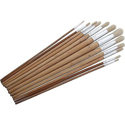 Set of 12 Round Tip Artist Brushes for Oil Acrylic or Watercolour Paint
