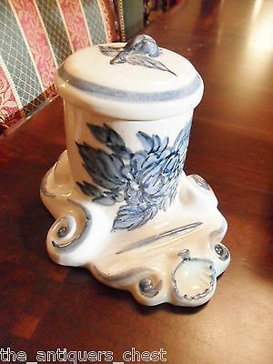 """Majolica c1900s inkwell blue and white,4 1/2"""" tall [*56]"""