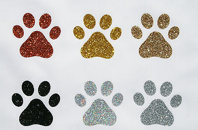 Iron-On Paw Prints Fabric Glitter Motif -SILVER-BLACK + FREE Iron-On Rhinestones