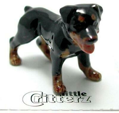 "Little Critterz Miniature Porcelain Animal Figure Rottweiler Dog ""Raina"" LC818"